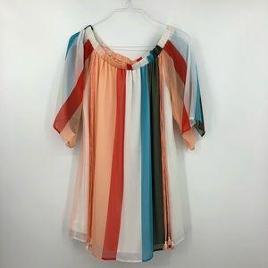 GIANNI BINI Striped Off The Shoulder Shirt Dress